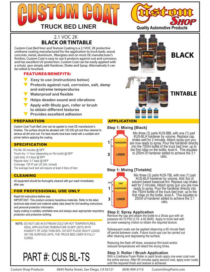 Black Metallic Tint - Custom Coat UBCLV Truck Bed Liner