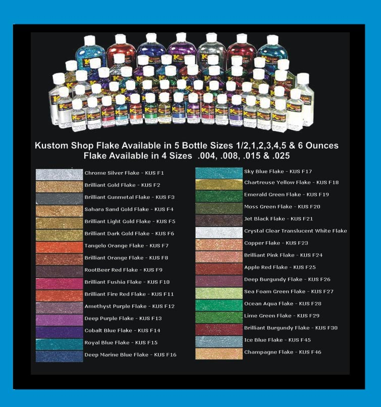 Metal Flake Paint Color Chart