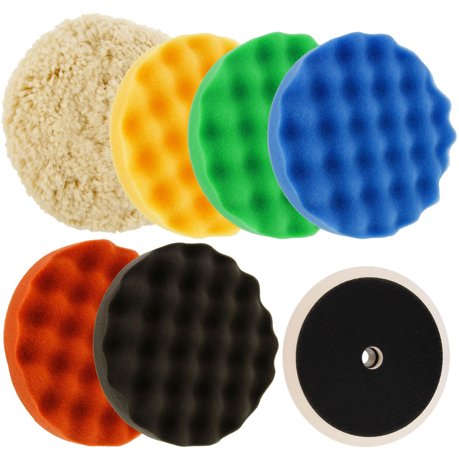 Waffle Foam & Wool Buffing & Polishing Pad Kit W/ 6