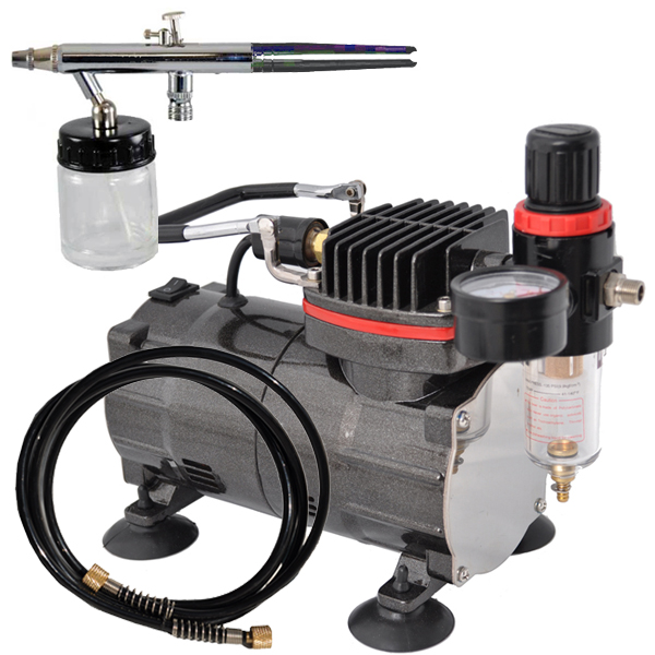 Siphon feed airbrush kit set w air compressor spray auto for Car paint air compressor