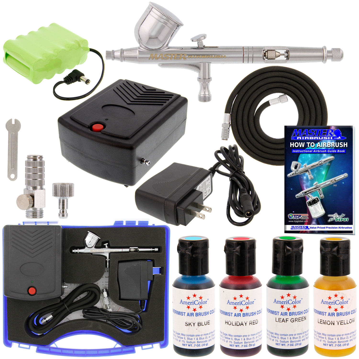 Complete Master Airbrush Cake Decorating Airbrush System : CAKE DECORATING AIRBRUSH & AIR COMPRESSOR KIT Rechargeable ...