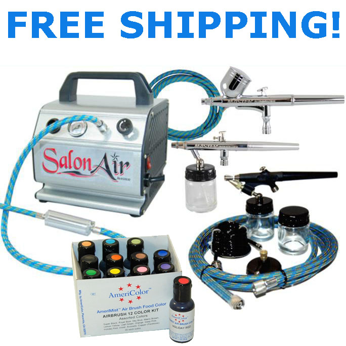 Airbushing Cake Decorating Airbrush Kit w-3 Airbrushes | eBay