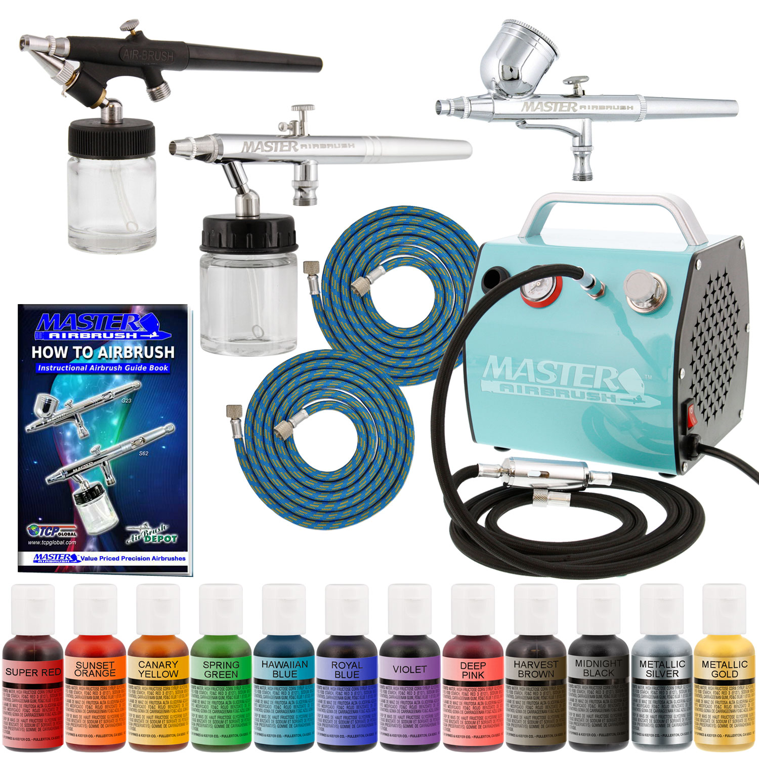 Artlogic Cake Decorating Airbrush Kit : Pro CAKE DECORATING SYSTEM 3 Airbrush Kit 12 Color Food ...