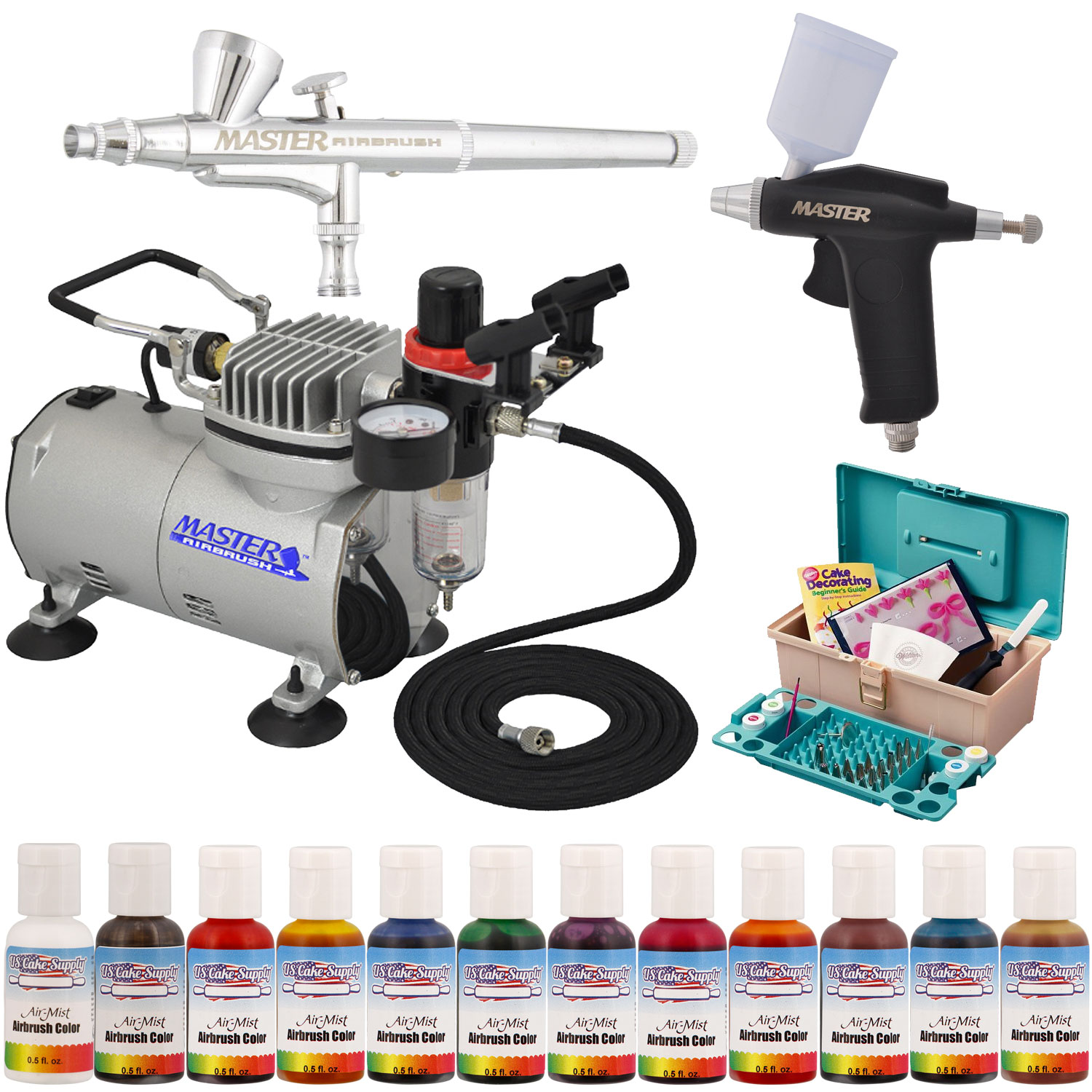 Cake Decorating Airbrush Wilton : Wilton 50 Cake Decorating Tools w 2 Airbrush Compressor eBay