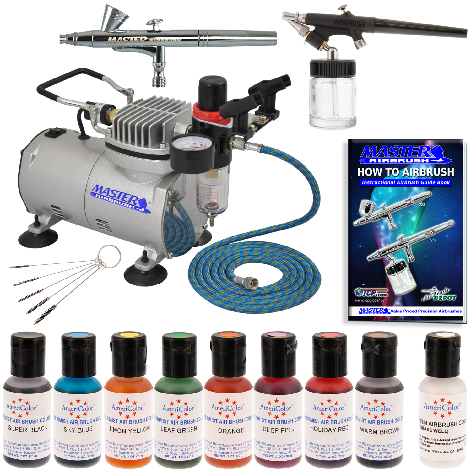 Complete Airbrush Cake Decorating Set : 2 Airbrush Cake Decorating Kit Compressor 12 Color Air ...