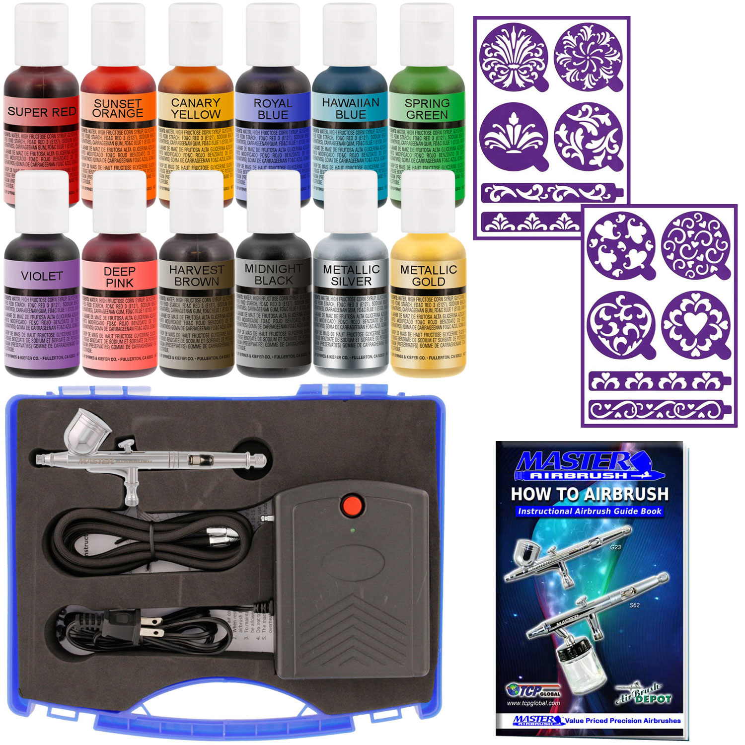 Master Airbrush Cake Decorating Set 12 Chefmaster Colors ...