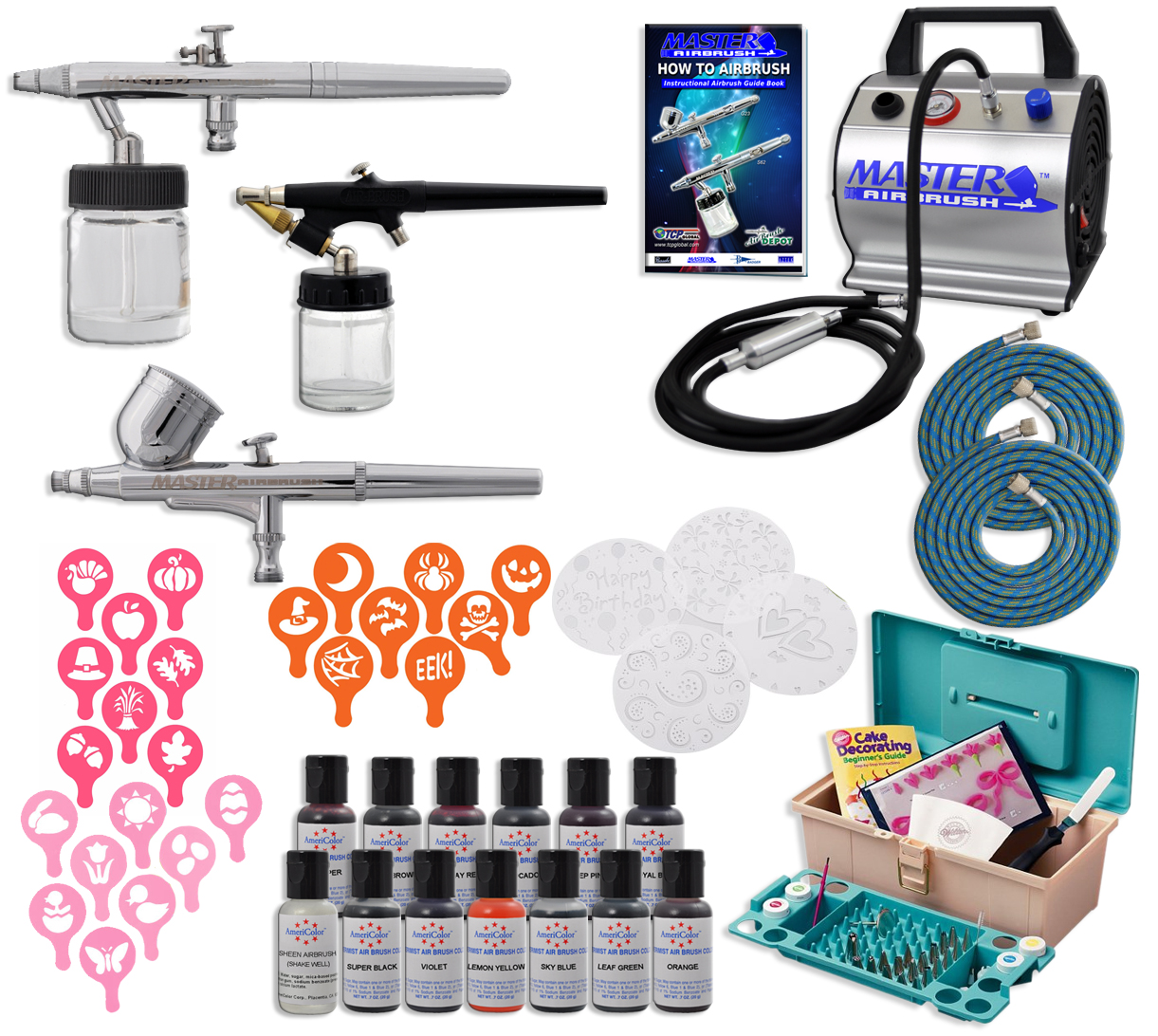 Master Airbrush Cake Decorating Set 13 AmeriMist Colors 50 ...