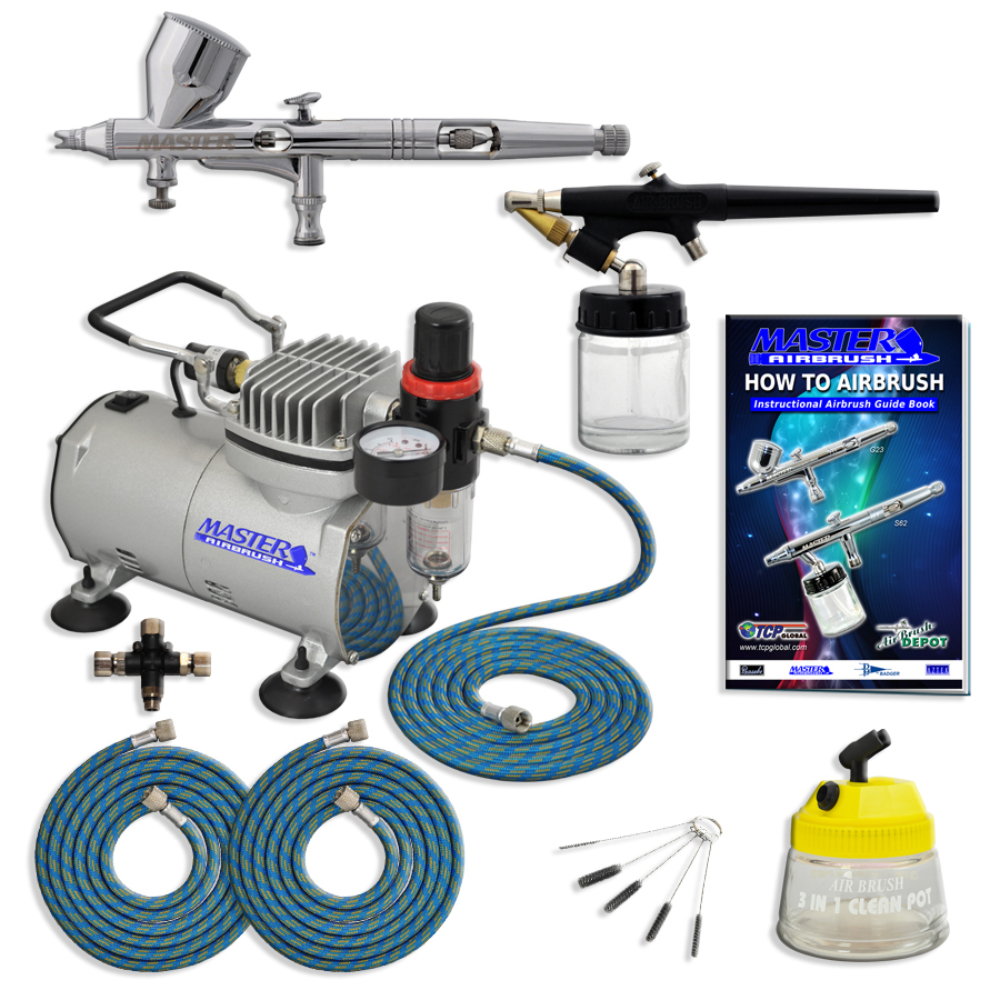 Dual Action Airbrush Kit Makeup Model Tattoo Cake ...