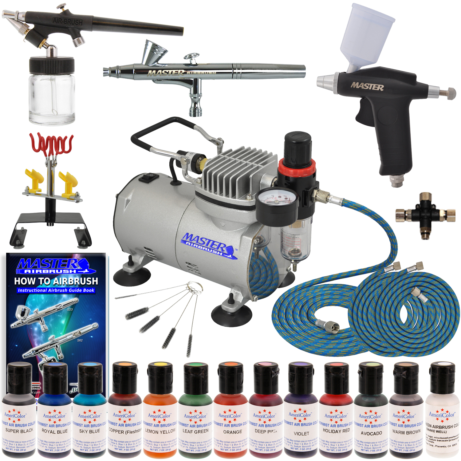 Deluxe 3 Airbrush Cake Decorating Kit Air Compressor 12 ...