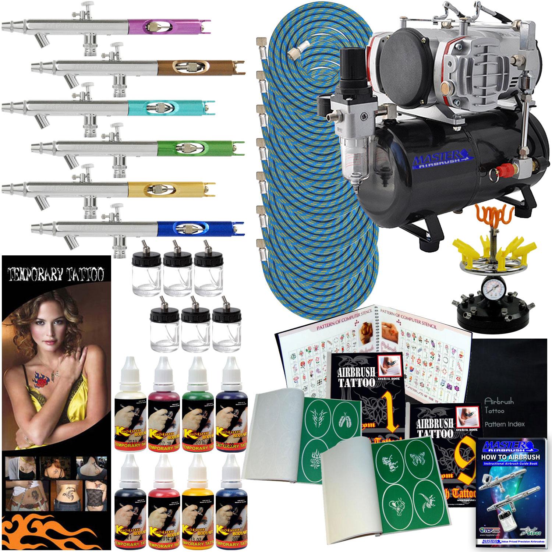 Airbrush temporary tattoo stencils paint compressor kit 6 for Airbrush tattoo kit