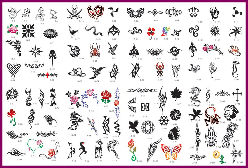 100 reusable airbrush temporary tattoo stencil art designs templates. Black Bedroom Furniture Sets. Home Design Ideas