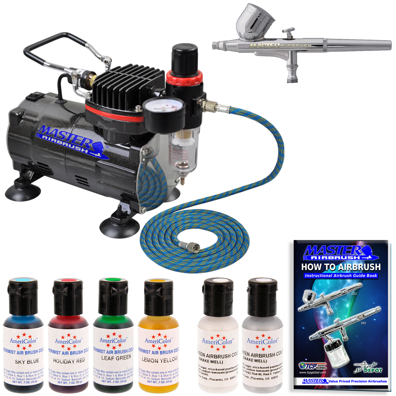 Master airbrush cake decorating kit air compressor 6 color for Airbrush cake decoration