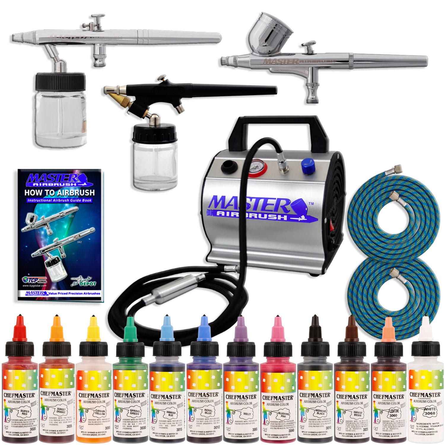 Complete Master Airbrush Cake Decorating Airbrush System : Pro CAKE DECORATING SYSTEM 3 Airbrush Kit 12 Color Food ...