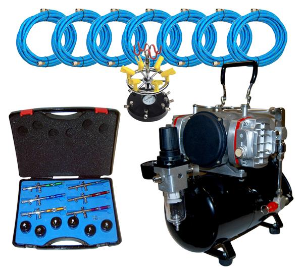 Pro 6 airbrush set kit w twin piston air compressor for Airbrush tattoo kit