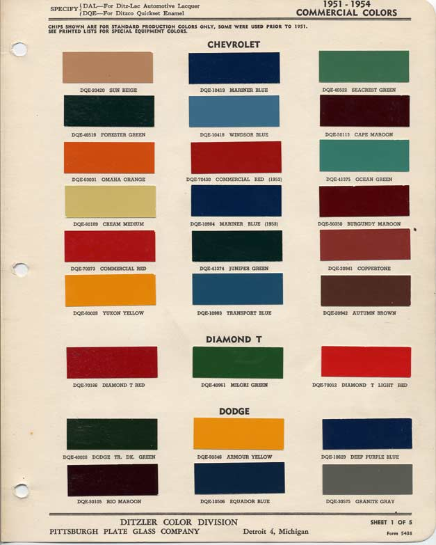 Belair 1954 Convertible Colors Combinatios Available From