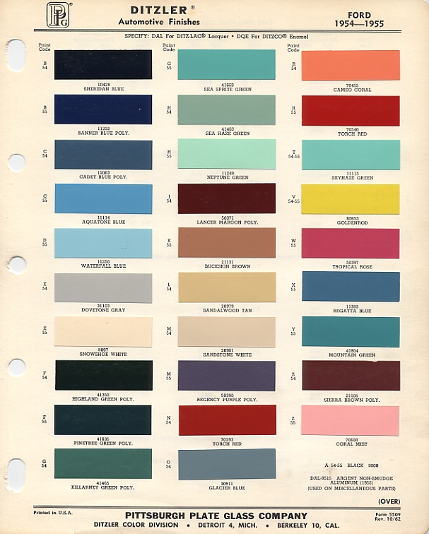 1955 Ford pg01 color chip selection Ford F-250 Wiring Diagram at n-0.co