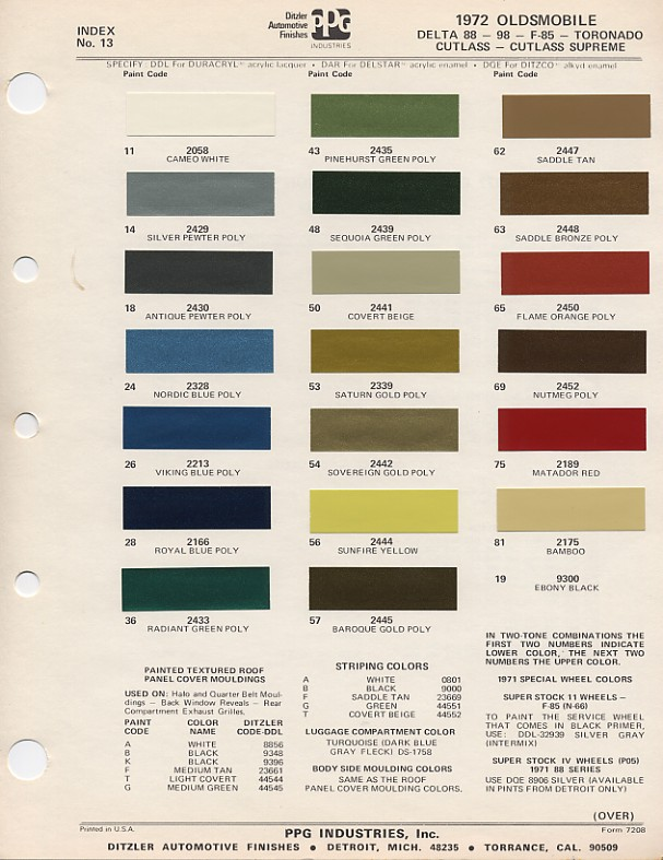 Oldsmobile Paint Codes