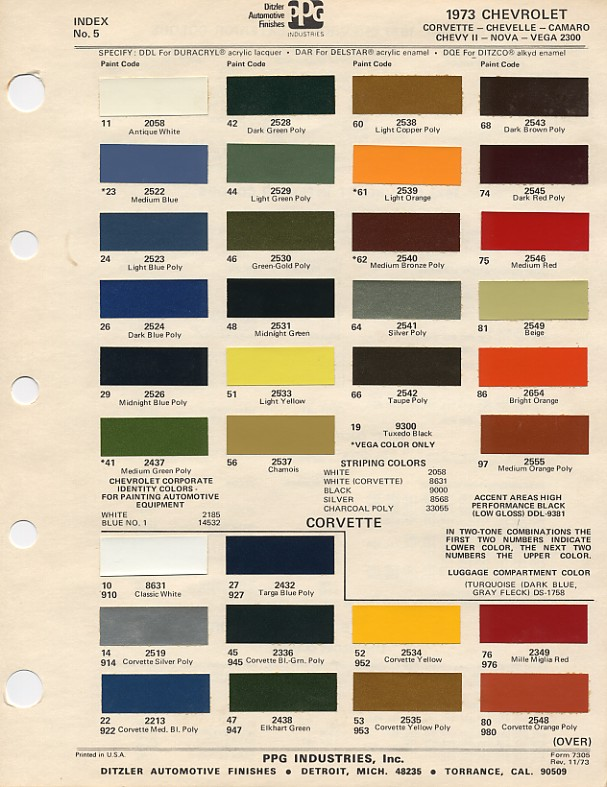 Color Chip Selection - 1969 camaro paint codes colors