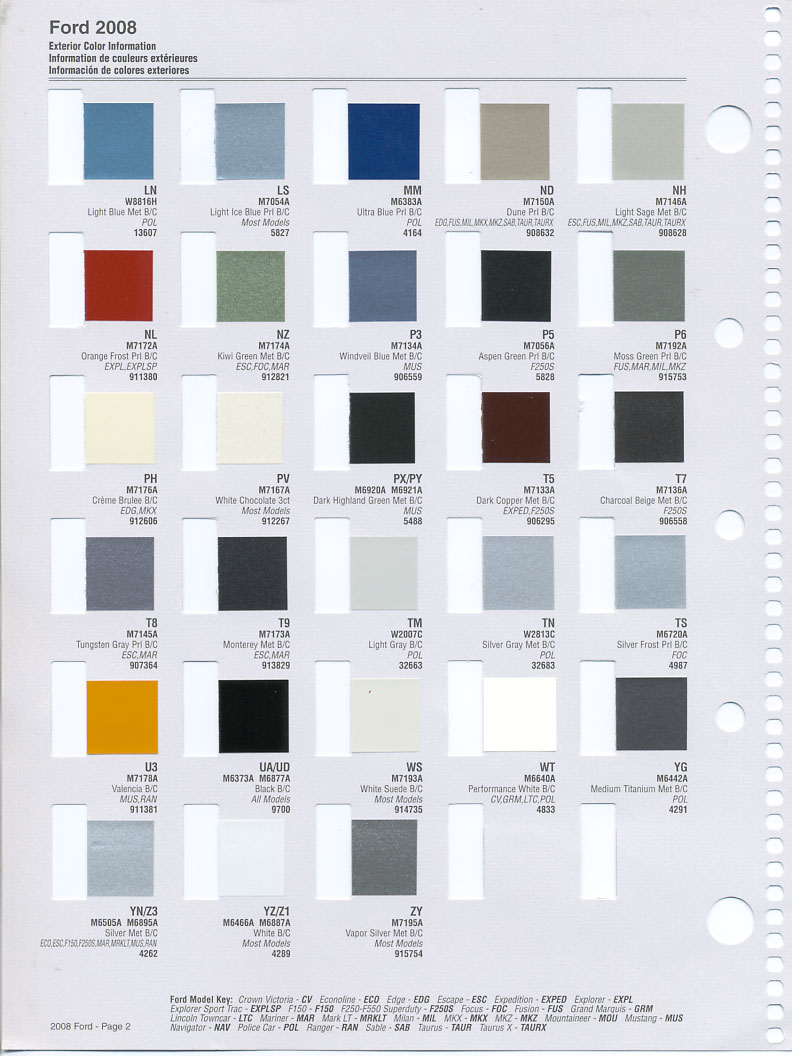 Ford Paint Colors >> Color Chip Selection