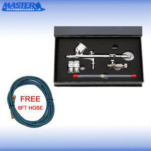 New MASTER PRO Dual Action Gravity Feed AIRBRUSH KIT SET w 3 TIPS