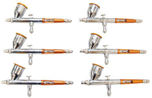 Set of 6 Paasche Talon Gravity Feed Airbrushes, Model TG-2L