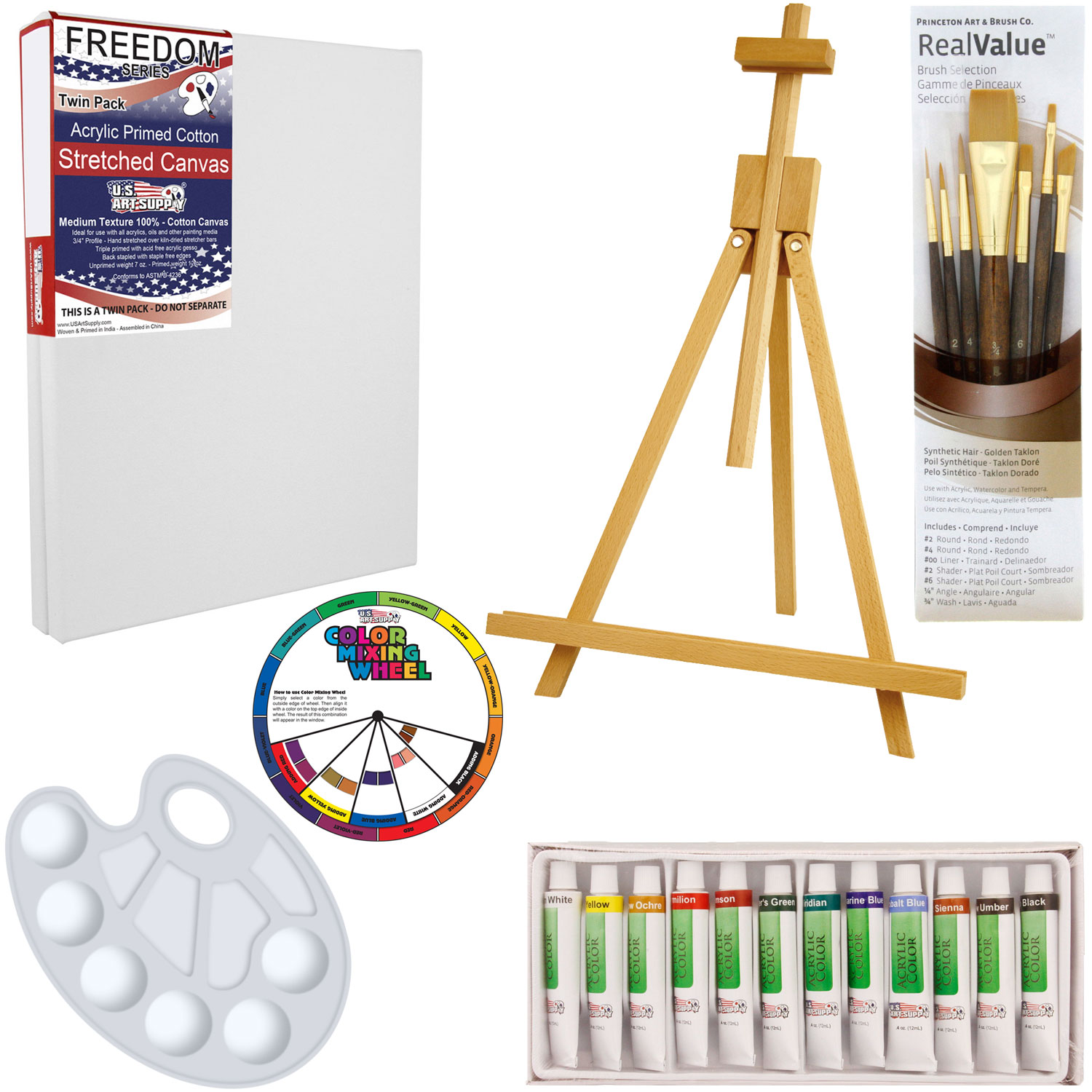 Us art supply 21 piece acrylic painting set with table for Acrylic mural paint supplies