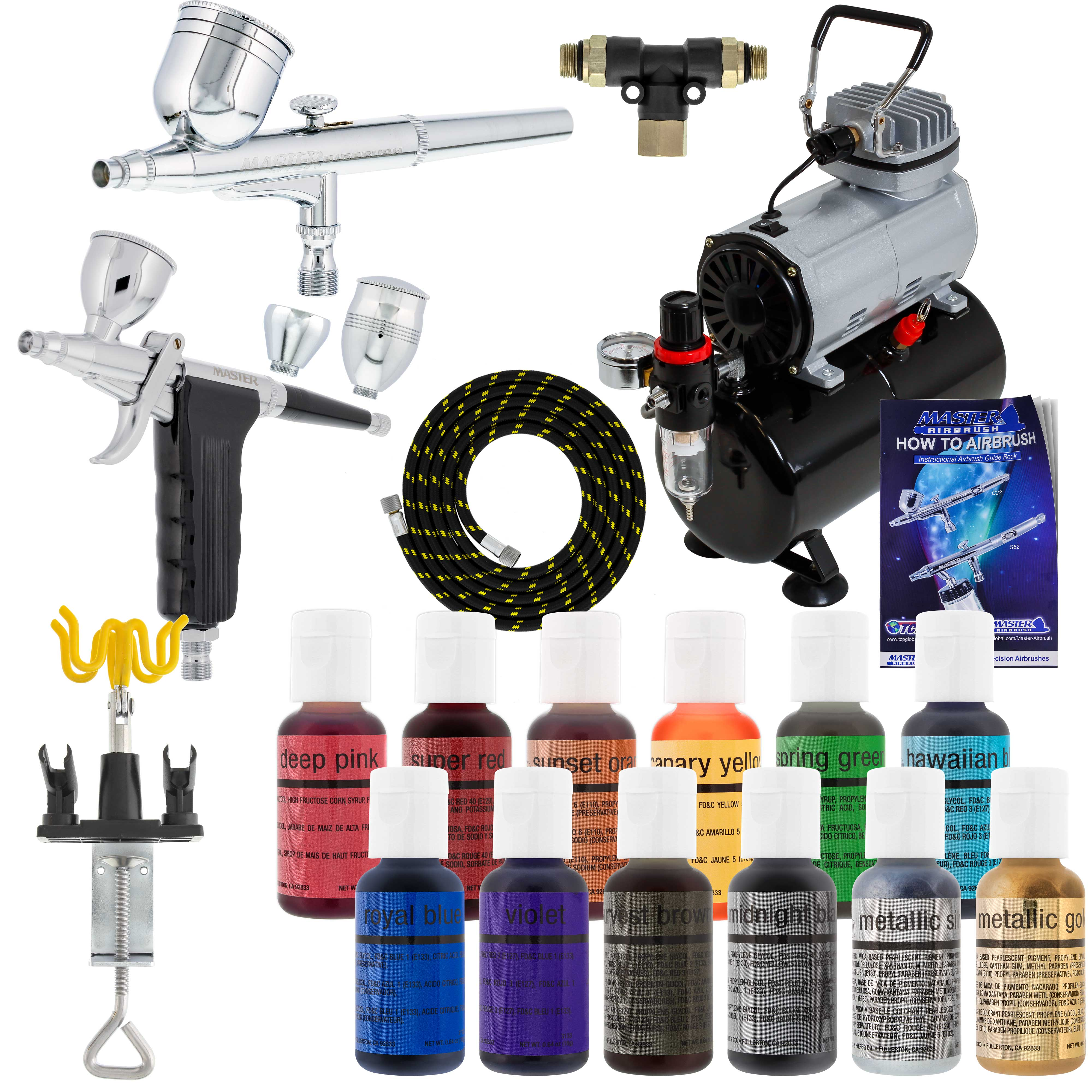 Details About 2 Airbrush Cake Decorating Tank Air Compressor Kit 12 Chefmaster Food Colors Set