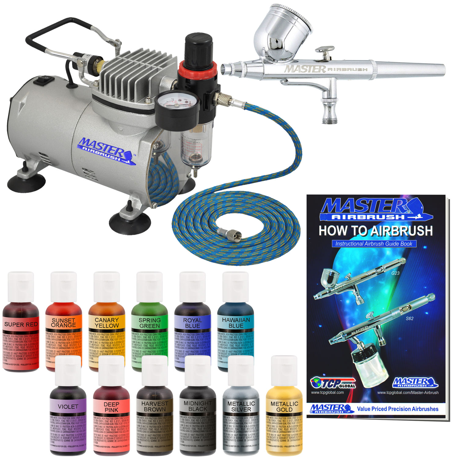 Details About Cake Decorating Airbrush Kit Air Compressor Chefmaster 12 Color Food Coloring