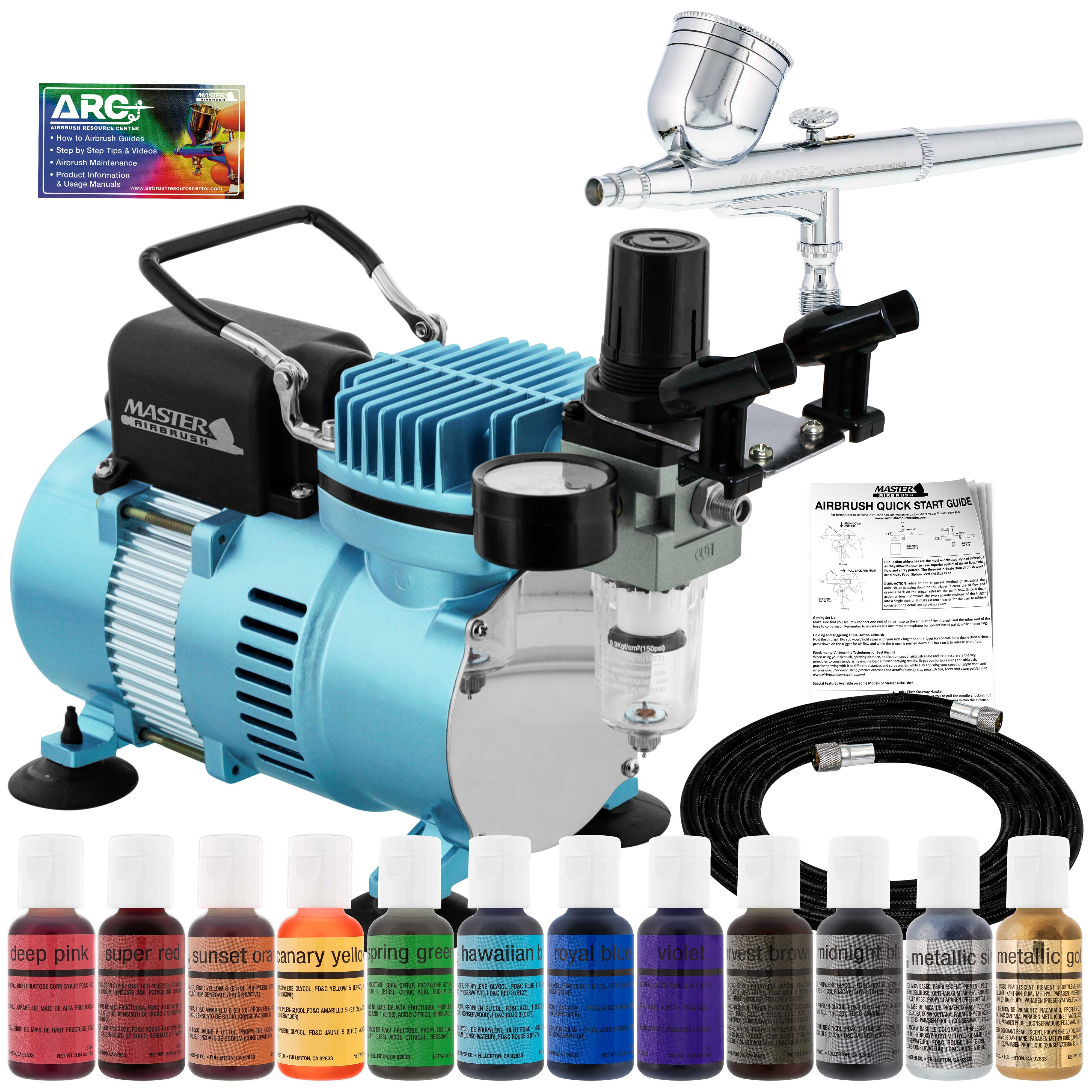 Details about Master G22 Airbrush Cake Decorating Air Compressor Kit 12  Chefmaster Food Colors