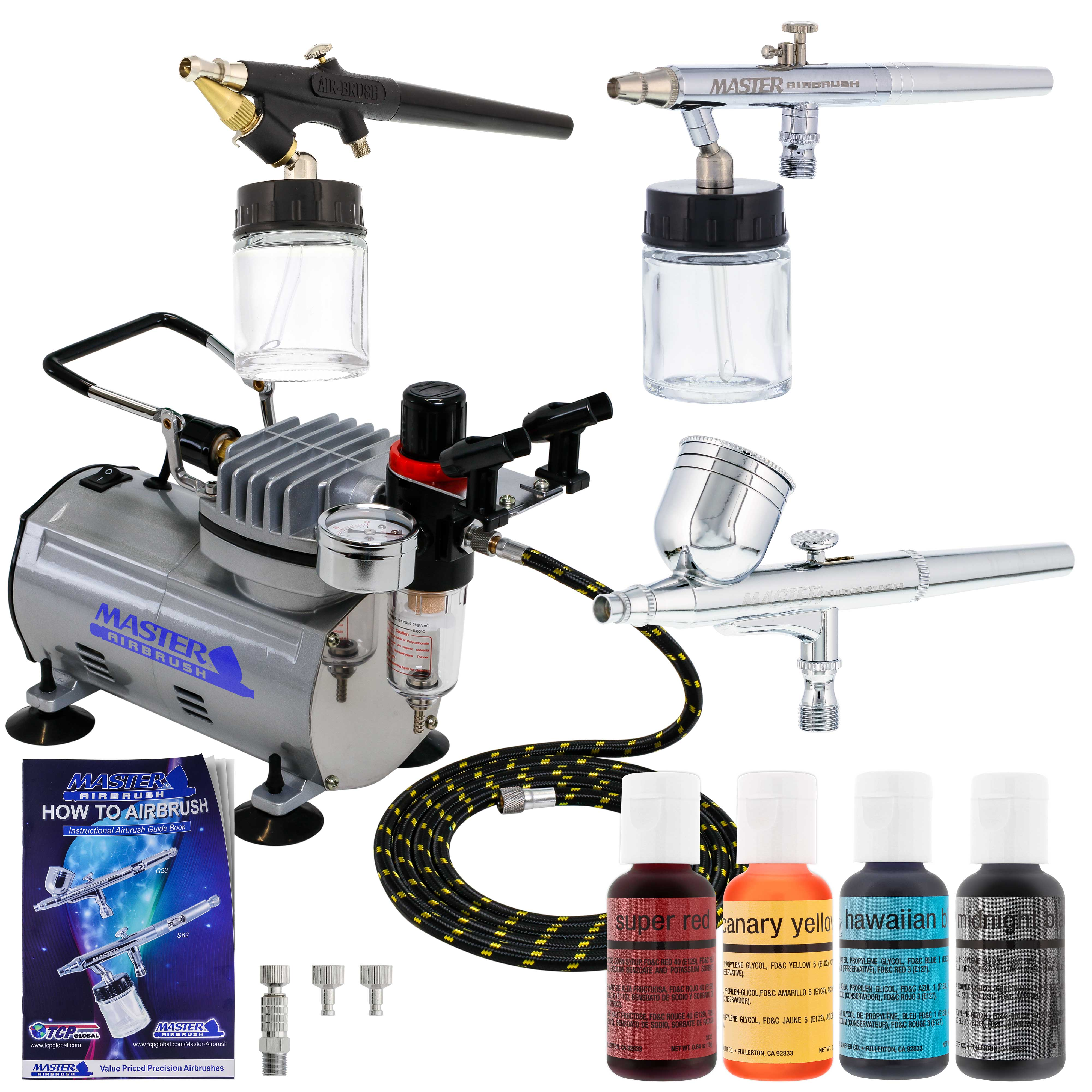 3 Airbrush Cake Decorating Compressor Kit, 4 Color ...