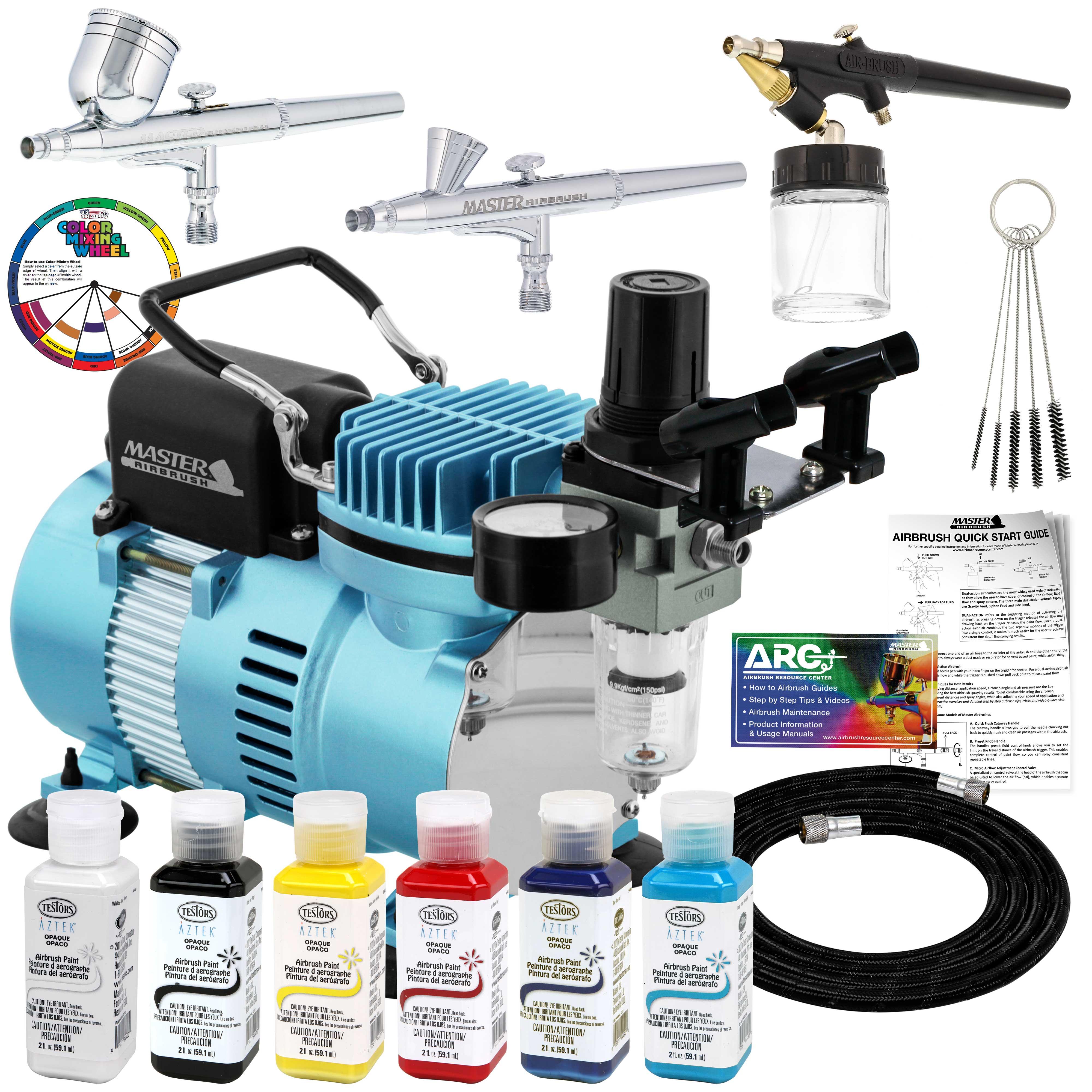 Details About Master 3 Airbrush Air Compressor Kit Testors Aztek 6 Colors Acrylic Paint Set