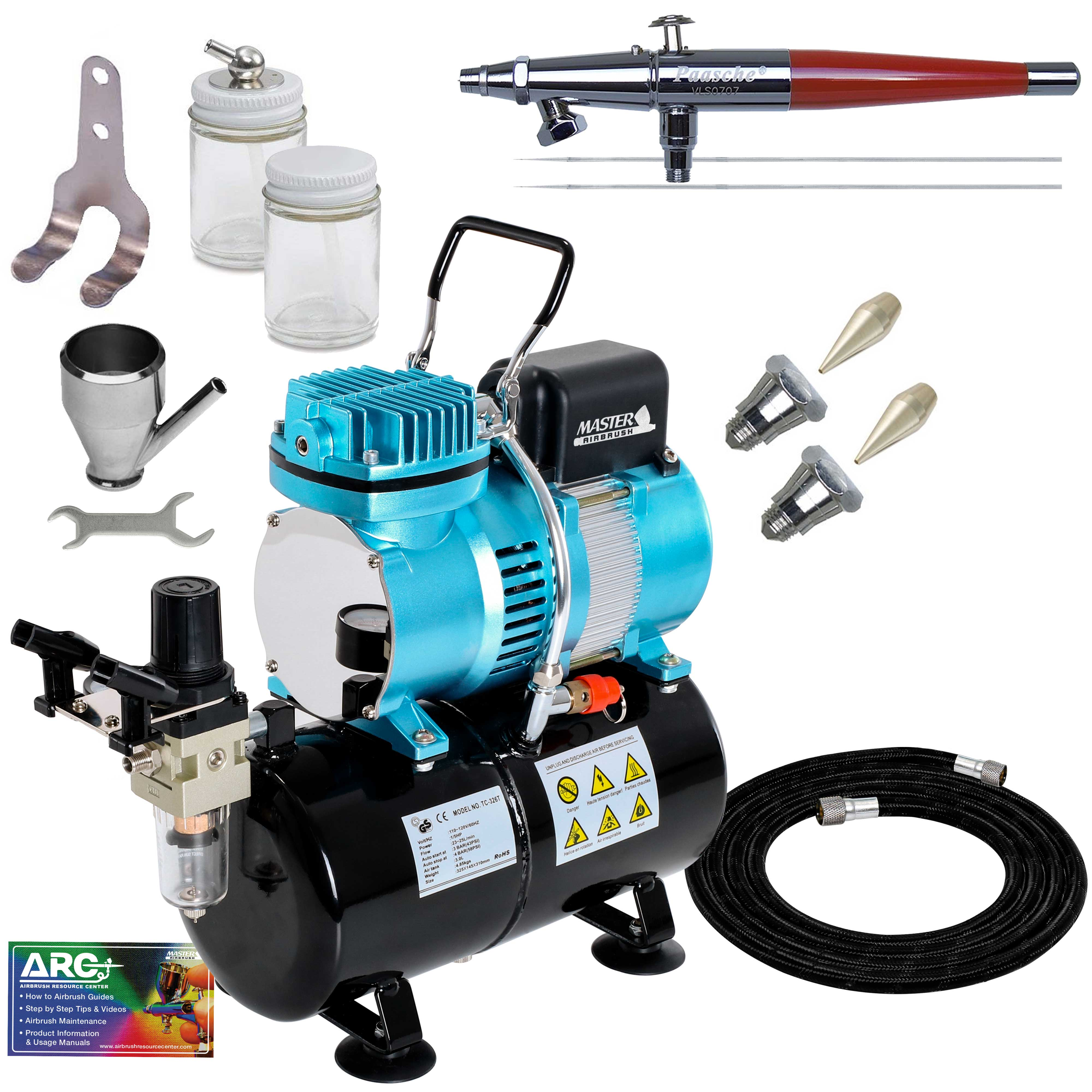 Paasche VL SET Airbrush System Compressor Dual-Action T-Shirt Hobby Cake Tattoo