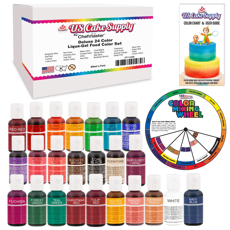 Details about 24 Color Cake Food Coloring Liqua-Gel Master Set .75 fl. Oz.  (20ml) Bottles
