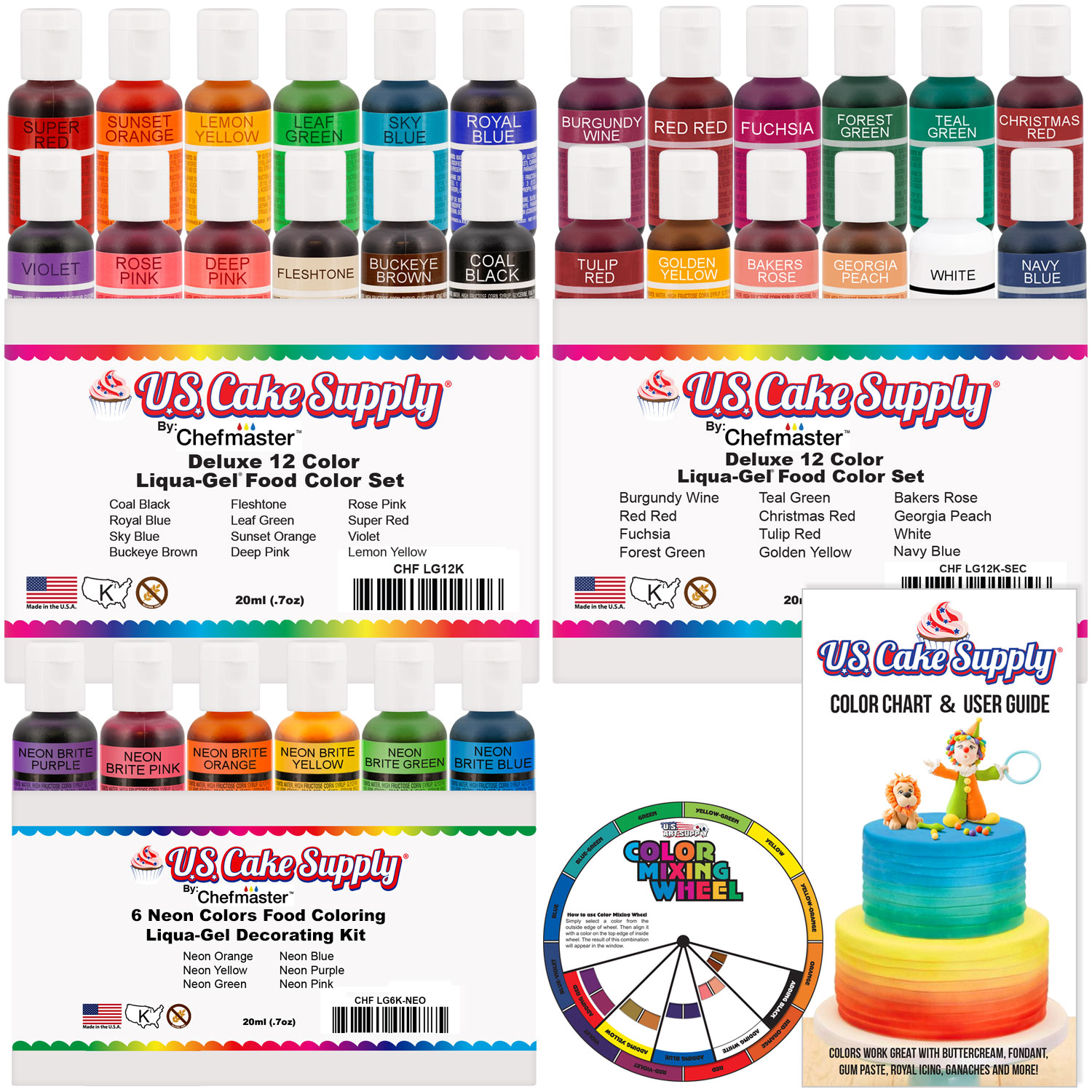 Details about 30 Color Cake Food Coloring Liqua-Gel Ultimate Set .75 fl.  Oz. (20ml) Bottles