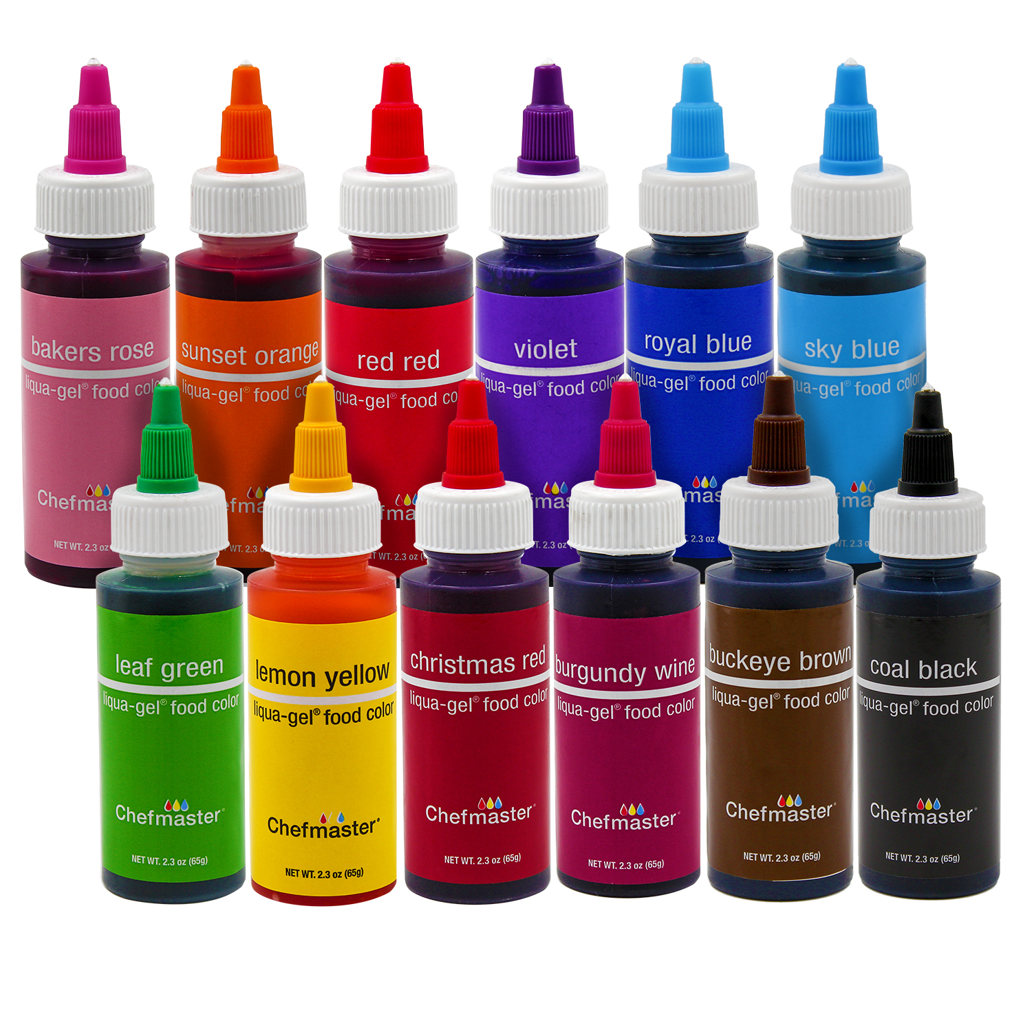 Details about Chefmaster by US Cake Supply 2.3-Ounce Liqua-Gel Cake Food  Coloring Variety Pack