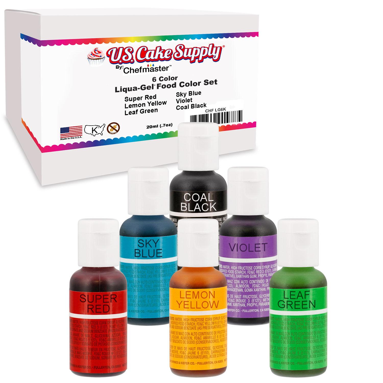 Details about 6 Color Cake Food Coloring Liqua-Gel Primary Set .75 fl. Oz.  (20ml) Bottles