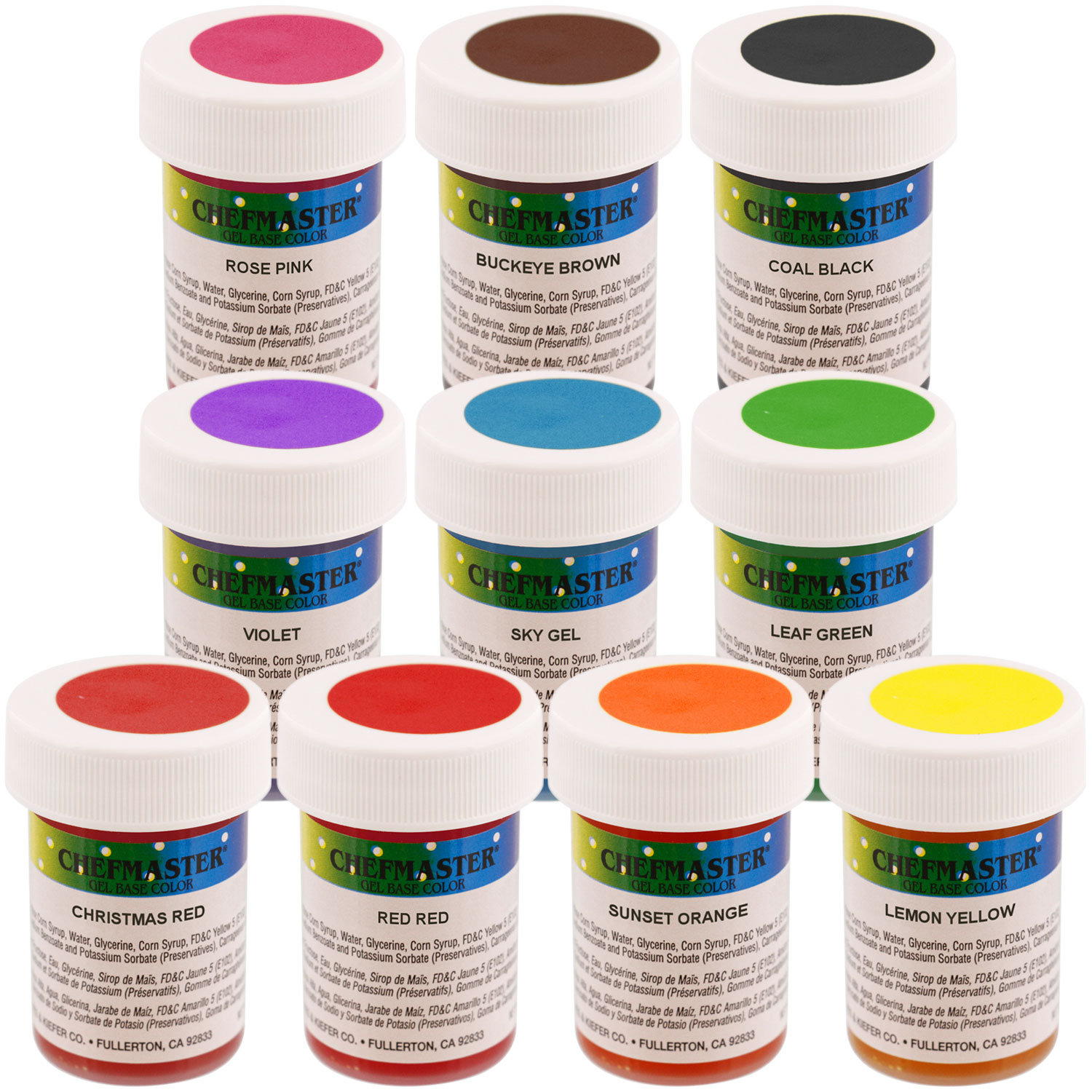 Details about Chefmaster by US Cake Supply 1-Ounce Gel Base Food Color  Student Kit - 10 Color