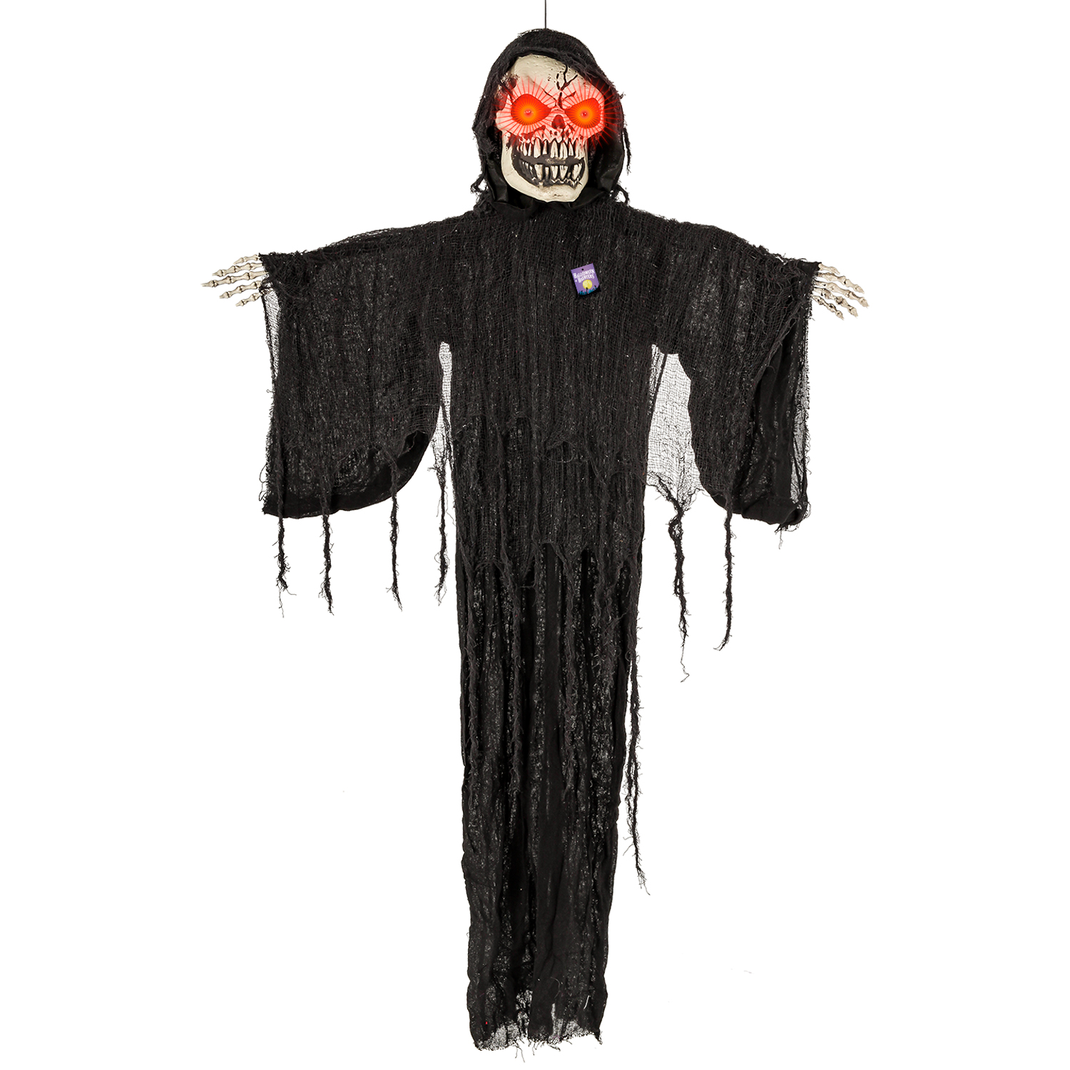 Battery Operated Cloaked in Black with Spooky Skull Face Halloween Haunters Animated Standing 30 Scary Skeleton Reaper with Moving Head and Red Flashing Eyes Prop Decoration