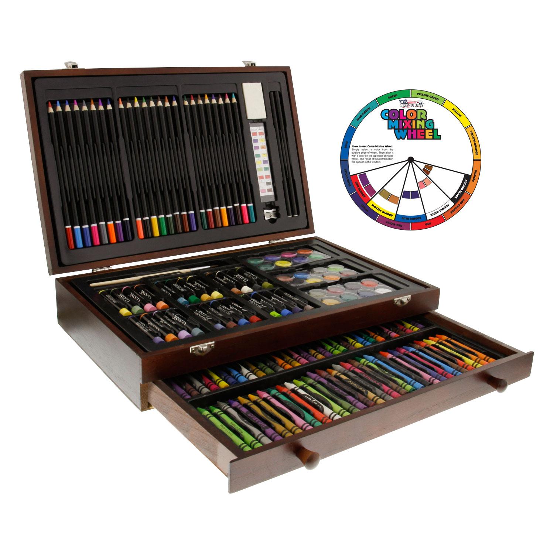 Details about 143 piece art drawing set artist sketch kit paint pencil pastel wood case box