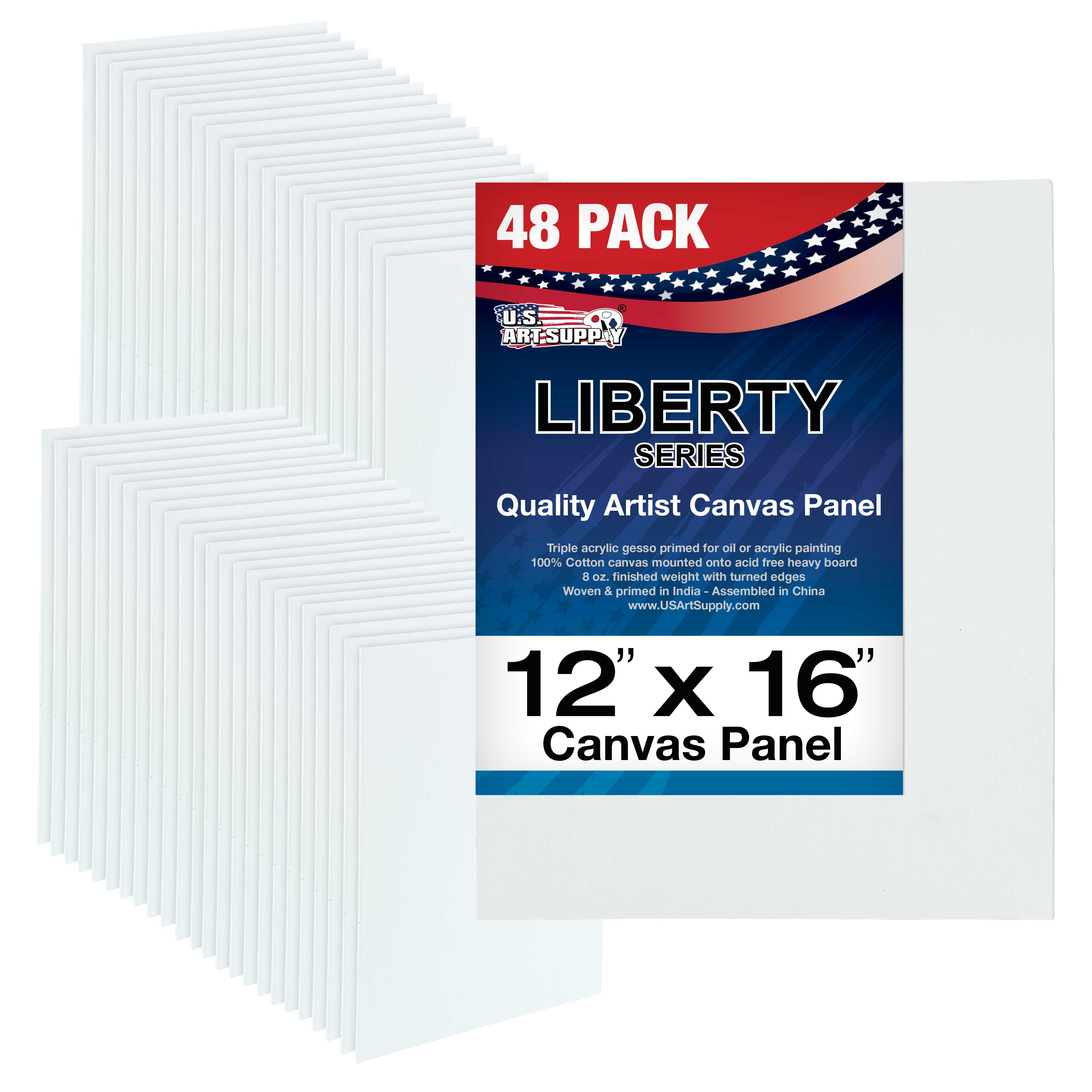 "Blank Cotton Canvas Panels 9/""x12/"" 48-Pack Mounted Art Boards Paint Supplies"