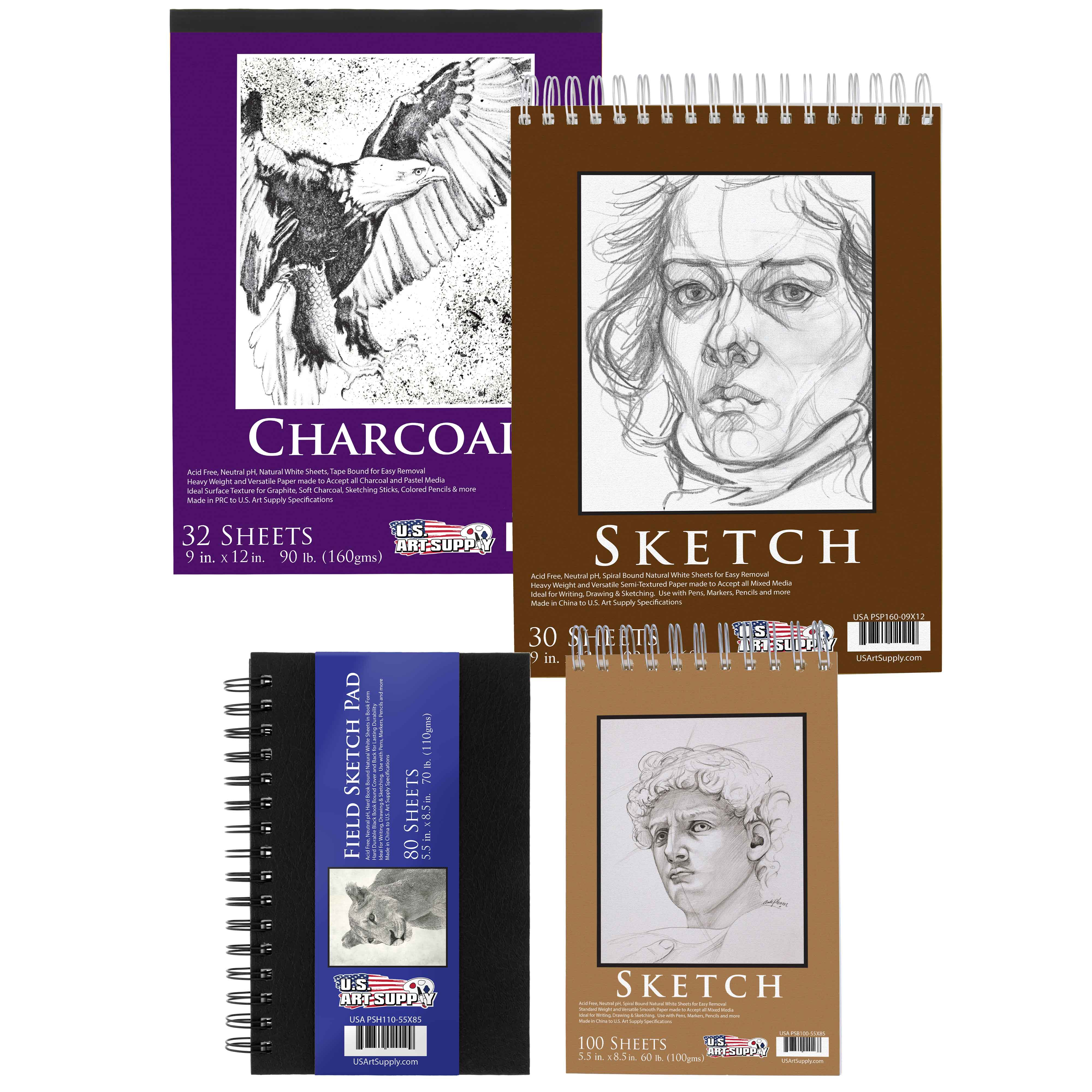 4 Sketching and Drawing Paper Pads Spiral Bound Sketch Charcoal Pencil Draw