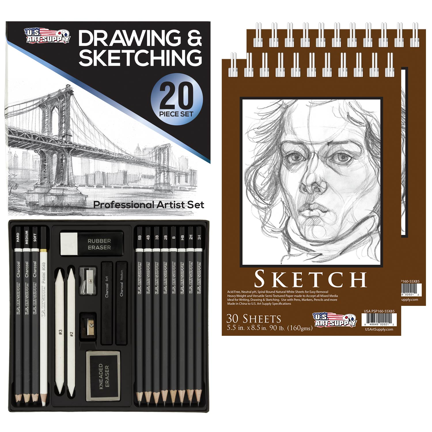 Details About 20 Piece Artist Drawing Sketching Set With Pack Of 2 5 5 X 8 5 Sketch Pads