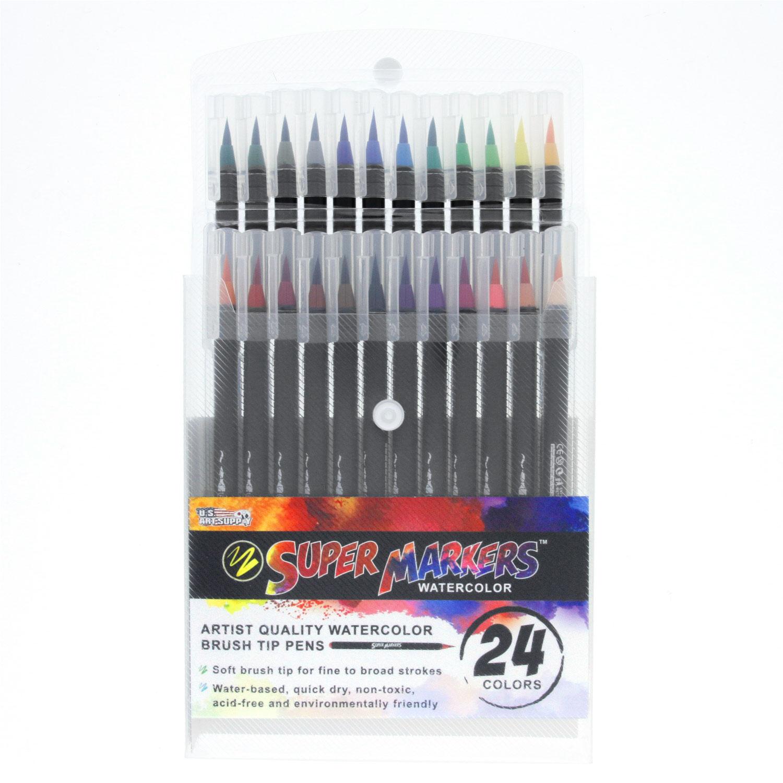 Details About 24 Color Super Markers Watercolor Soft Brush Tip Pens Set Fine Broad Lines Art