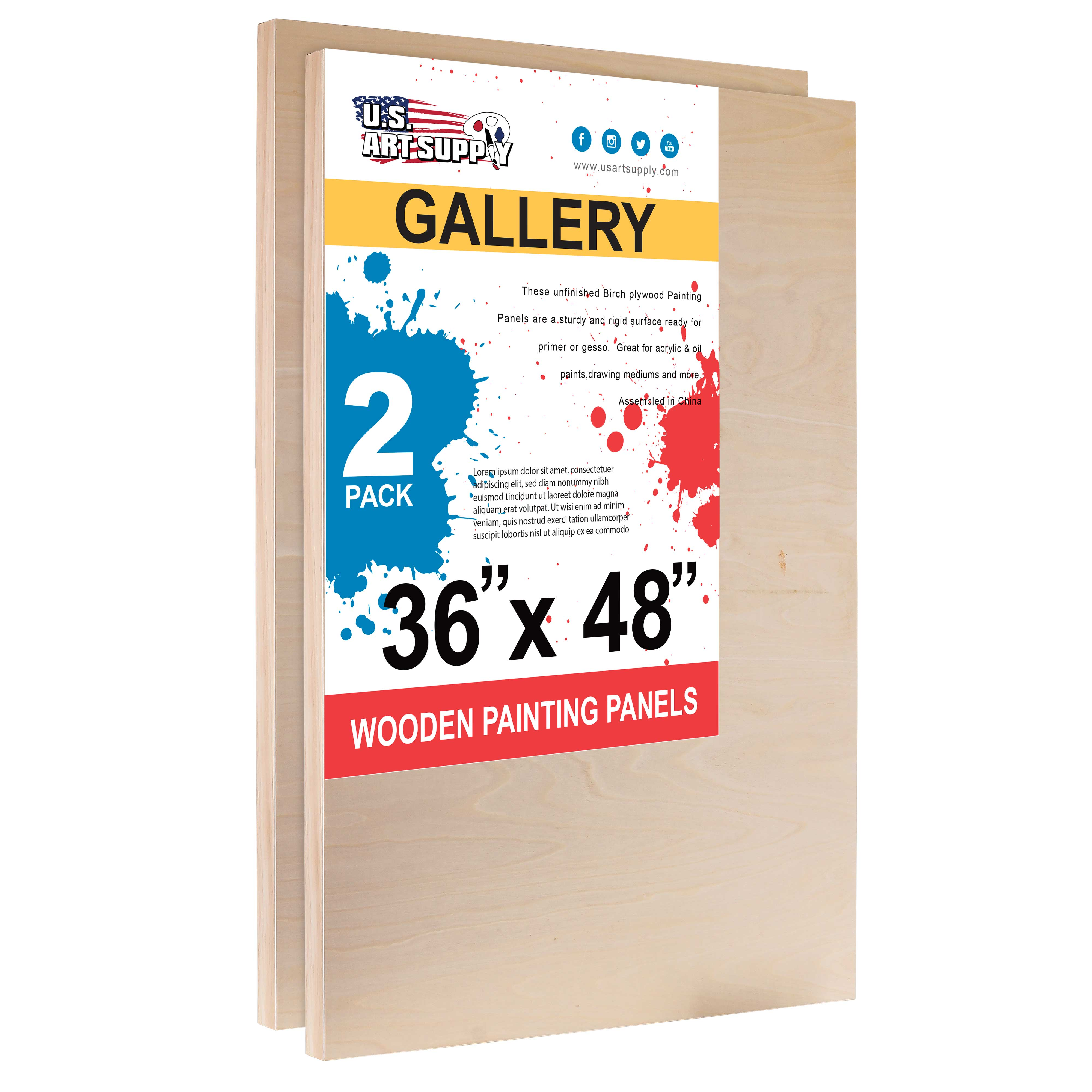 """8/"""" x 8/"""" Gallery 1-1//2/"""" Profile Depth Artist Wood Pouring Panel Boards Pack of 4"""