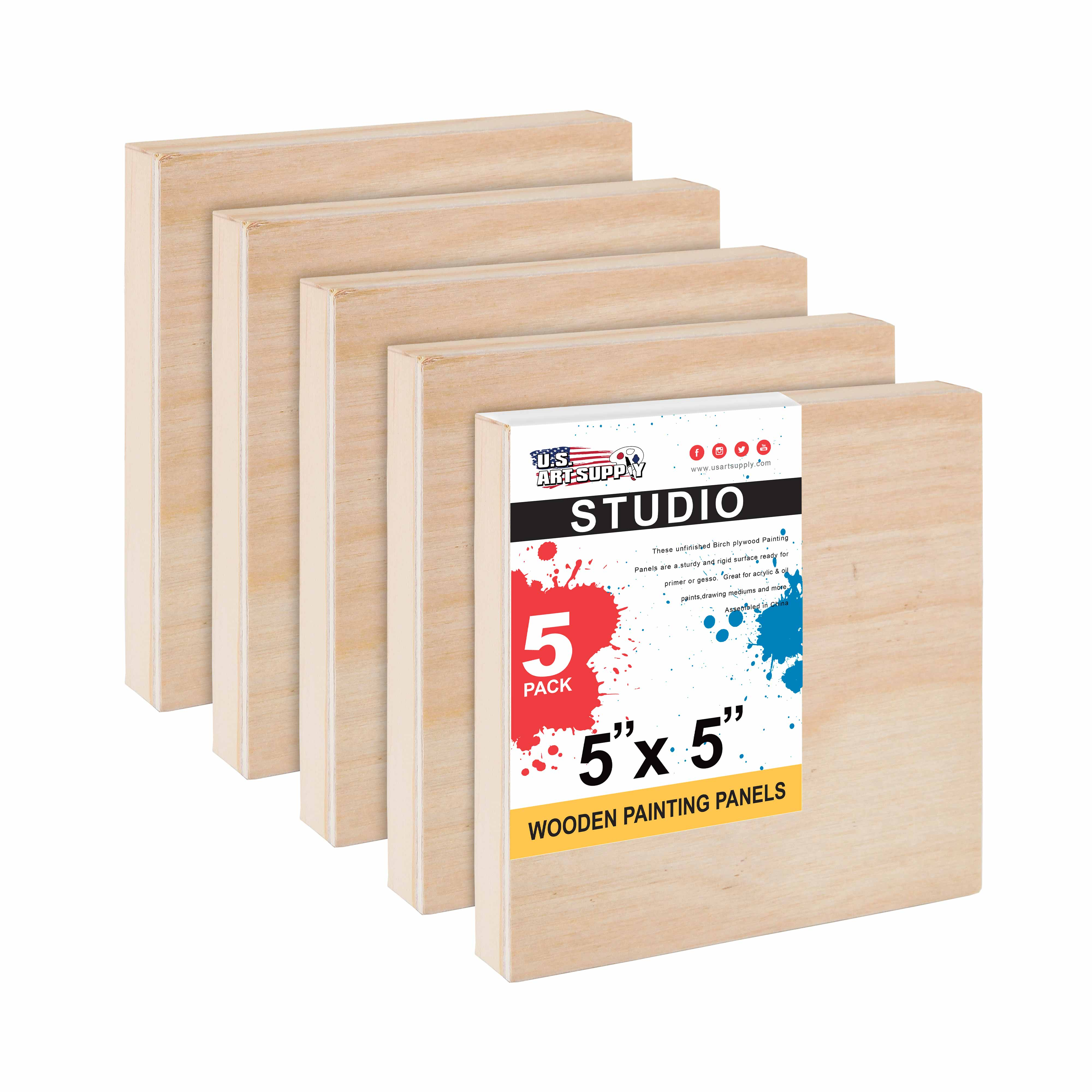 """5/"""" x 7/"""" Studio 3//4/"""" Profile Depth Artist Wood Pouring Panel Boards Pack of 5"""