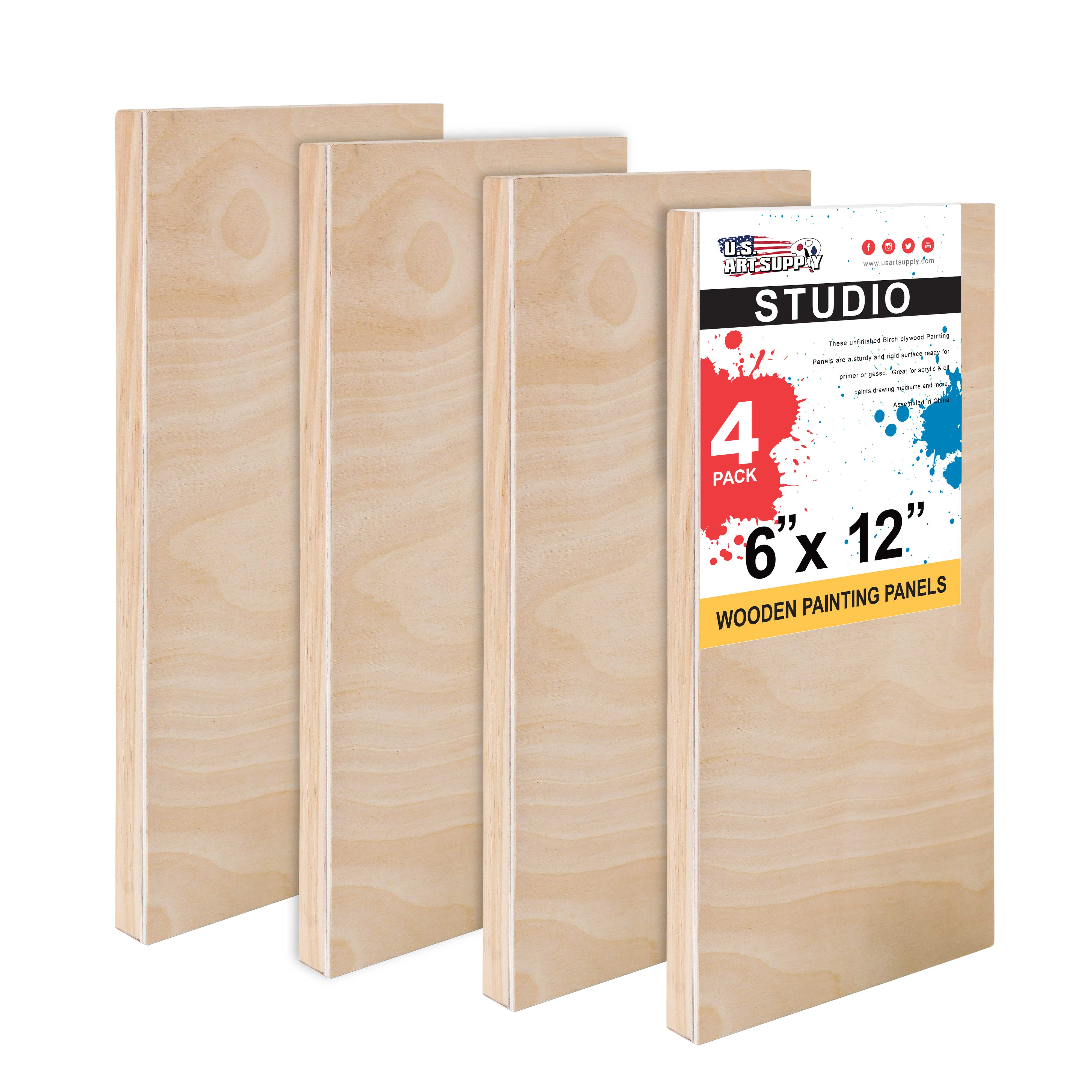"""4/"""" x 4/"""" Studio 3//4/"""" Profile Depth Artist Wood Pouring Panel Boards Pack of 5"""