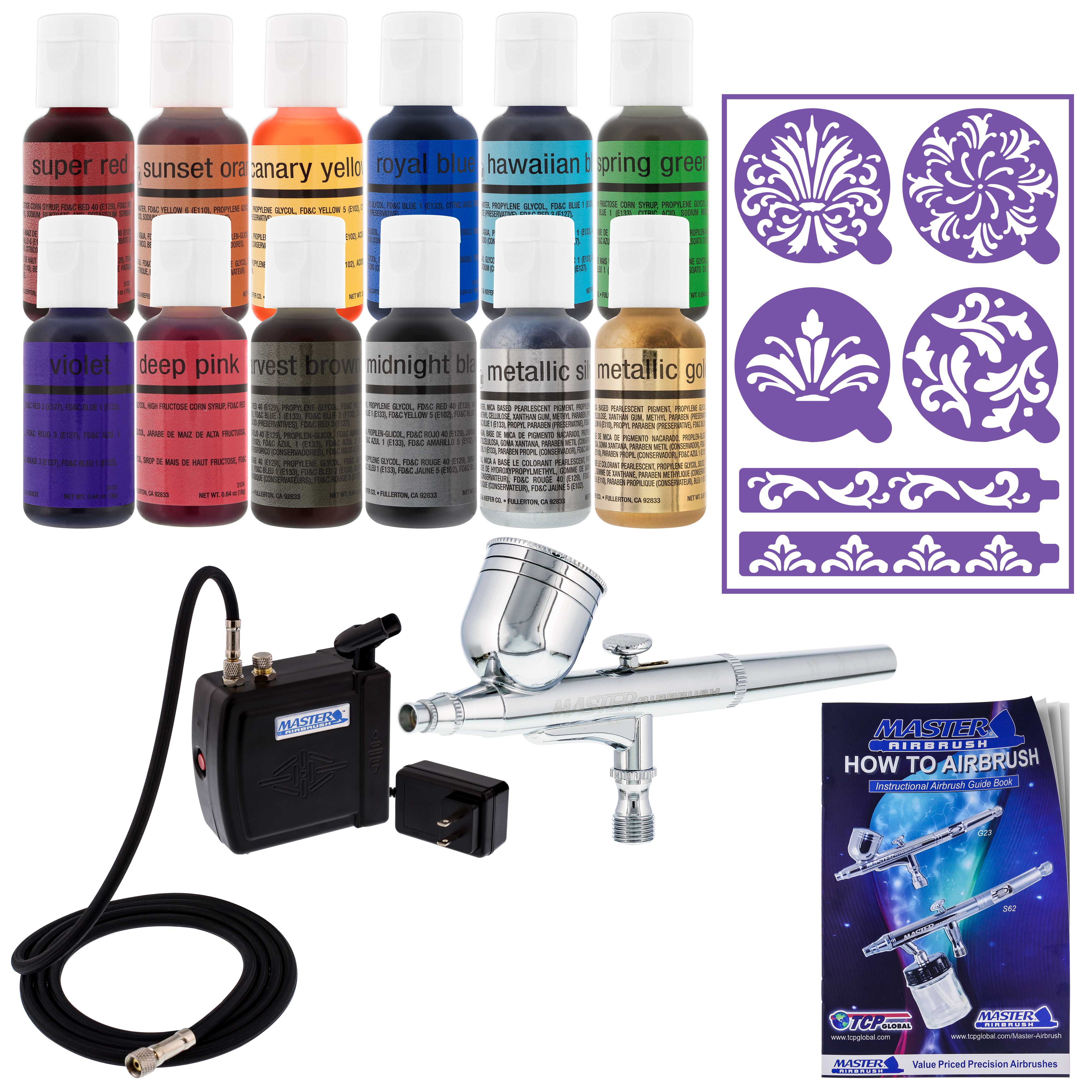 Details about Master Airbrush Cake Decorating Set 12 Chefmaster Colors  Compressor and Stencils