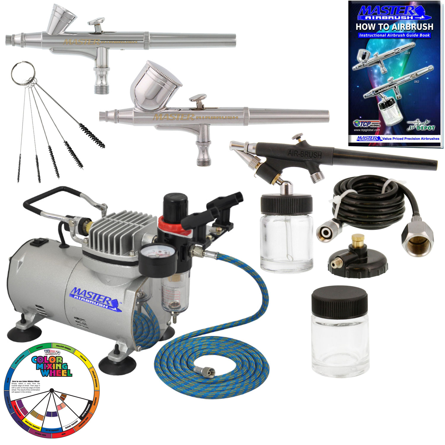 Details about 3 Master Airbrush Pro Air Compressor Kit, Hobby, Auto, Cake,  Tattoo Art Paint