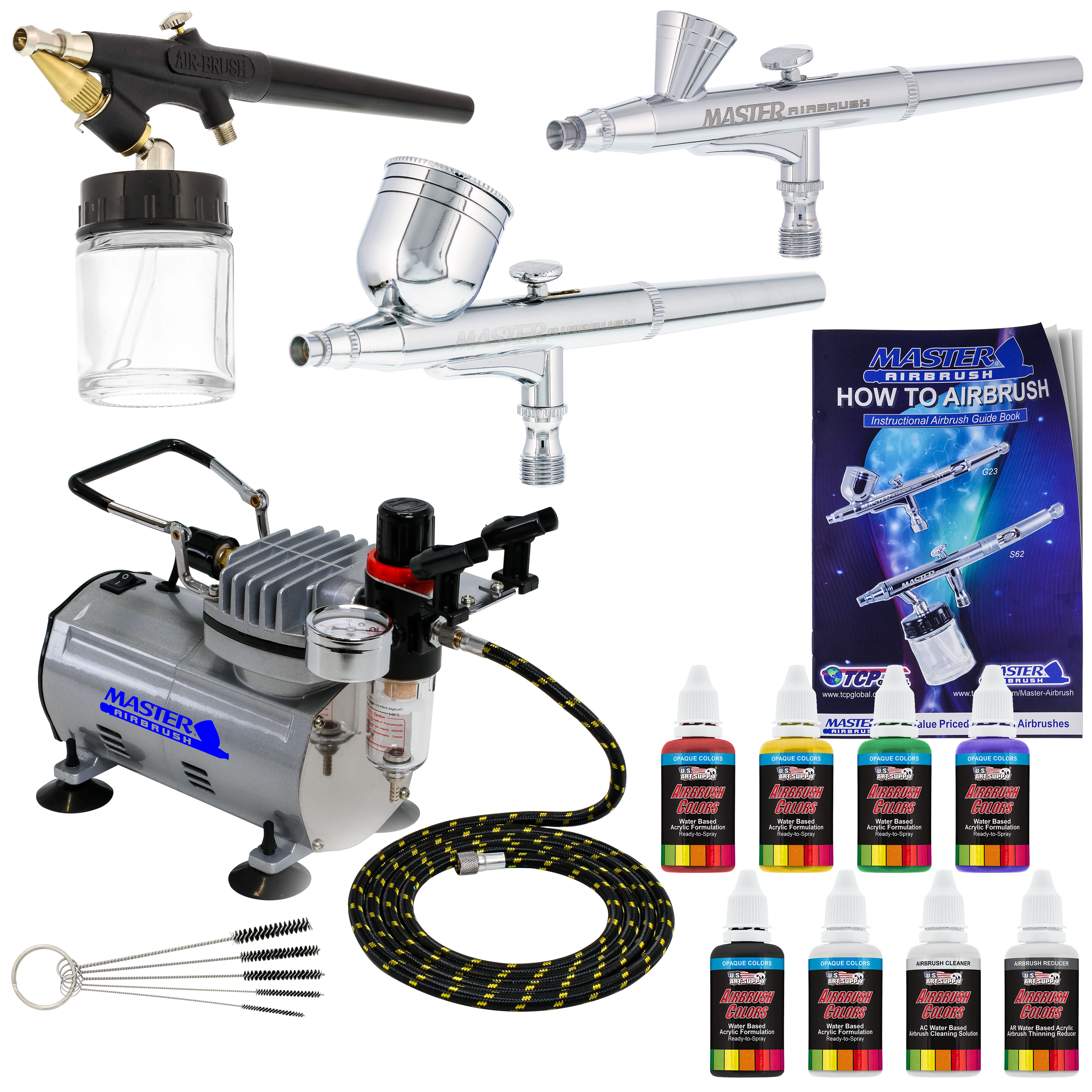 Details about Master 3 Airbrush, Air Compressor Kit, Holder 6 Primary  Colors Acrylic Paint Set