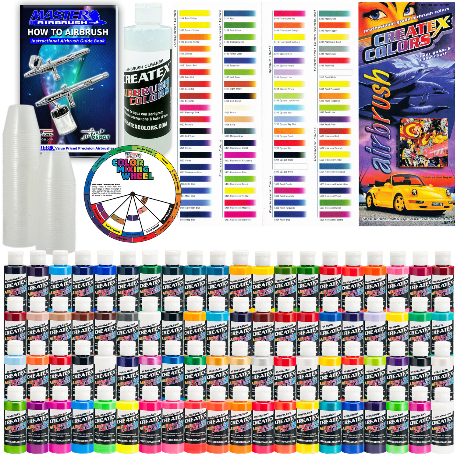 Details about Createx DELUXE ALL 80 COLORS SET 2oz Airbrush Hobby OPAQUE  TRANSPARENT Paint